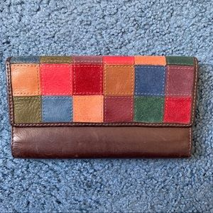 Fossil suede/leather patchwork wallet
